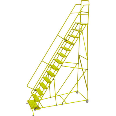 "Tri Arc Perforated 24""W 14 Step Steel Rolling Ladder, 10""D Top Step - KDSR114246-Y"