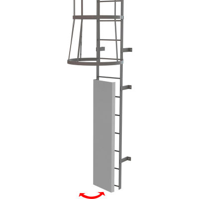 Fixed Steel Ladder Guard Door for Entry Onto Fixed Ladder, Gray - OPFS03