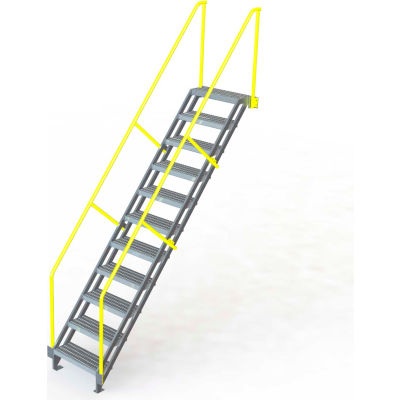 "U-Design Max-Access Aluminum Work Platforms - 11 Step 110""H 50 Deg. Stair Unit - UAP1150"