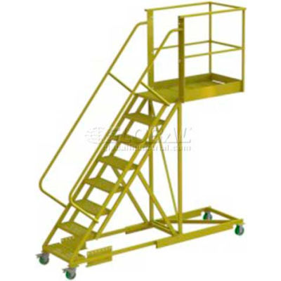 """Supported 8 Step Cantilever Ladder with 40"""" Long Platform - Perforated"""