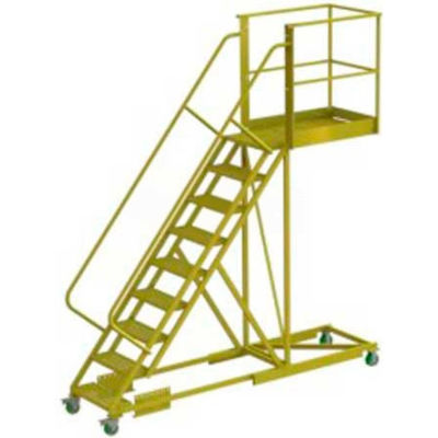 "Supported 9 Step Cantilever Ladder with 40"" Long Platform - Perforated"