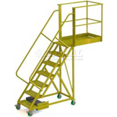 """Unsupported 7 Step Cantilever Ladder with 20"""" Long Platform - Perforated"""