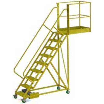 """Unsupported 9 Step Cantilever Ladder with 20"""" Long Platform - Perforated"""