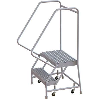 "2 Step Aluminum Rolling Ladder, 24""W Grip Strut, 14""D Top Step, 32"" Handrails - WLAR102245"