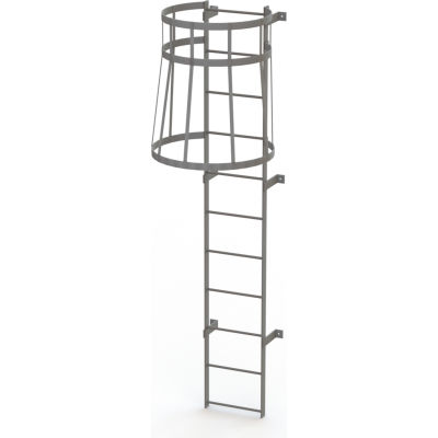 11 Step Steel Caged Fixed Access Ladder, Gray - WLFC1111