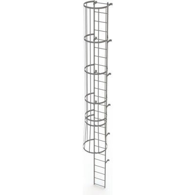 25 Step Steel Caged Fixed Access Ladder, Gray - WLFC1125