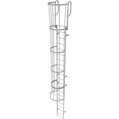 21 Step Steel Caged Walk Through Fixed Access Ladder, Gray - WLFC1221