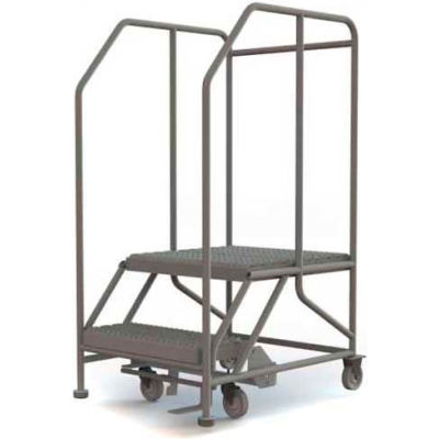 "Mobile 2 Step Steel 24""W X 24""L Work Platform Ladder - 800 Lb. Capacity - WLWP122424SL"