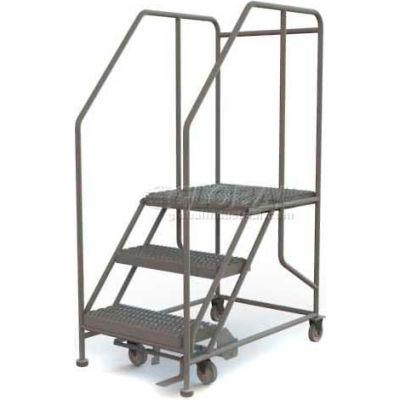 """Mobile 3 Step Steel 24""""W X 24""""L Work Platform Ladder - 800 Lb. Capacity - WLWP132424SL"""