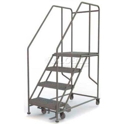 """Mobile 4 Step Steel 24""""W X 24""""L Work Platform Ladder - 800 Lb. Capacity - WLWP142424SL"""