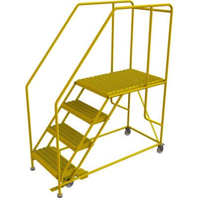 "4 Step Mobile Work Platform 24""W x 36""L, 36"" Handrails, Safety Yellow - WLWP142436SL-Y"