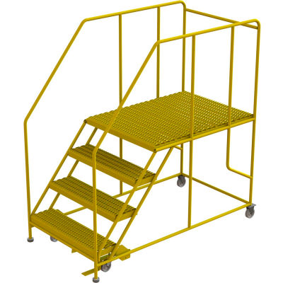 "4 Step Mobile Work Platform 36""W x 48""L, 36"" Handrails, Safety Yellow - WLWP143648SL-Y"