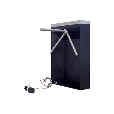 3-Arm Mechanical Turnstile Right Handed w/ Free Exit - Black Cabinet