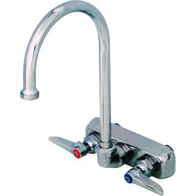 """T&S Brass B-1146 Workboard Back Mounted Faucet W/ 4"""" Centers & 133X Swing Gooseneck"""