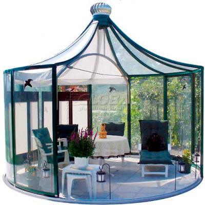 "Rondo Pavilion, Aluminum Frame & Tempered Glass, 150Sq/Ft, 12' 11""L X 12' 11""W X 11' 10""H, Green"