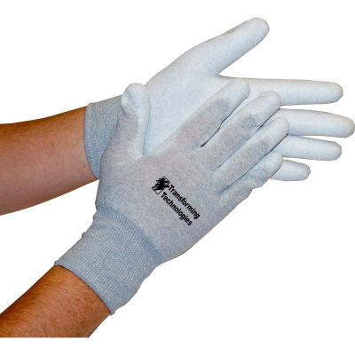Transforming Technologies ESD Inspection Gloves, Palm Coated, Small, 12 Pairs/Pack