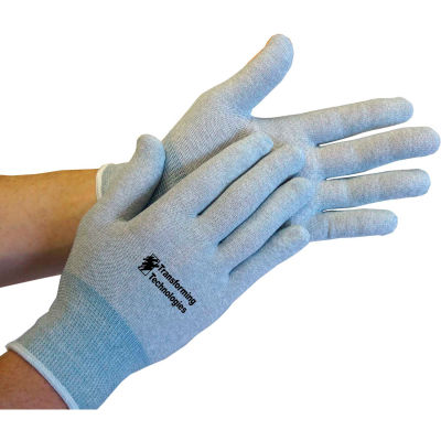 Transforming Technologies ESD Inspection Gloves, Uncoated, Medium, 12 Pairs/Pack