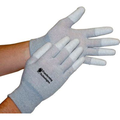Transforming Technologies ESD Inspection Gloves, Finger Tip Coated, Large, 12 Pairs/Pack