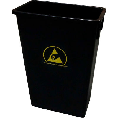 Transforming Technologies 22 Gallon Anti-Static Waste Basket , Black - WBAS90