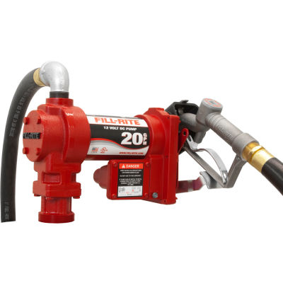 """Fill-Rite FR4210H, DC Fuel Transfer Pump w/20"""" Steel Telescoping Suction Pipe, 20 GPM, 2"""" Bung Mount"""