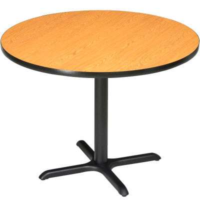 "Interion® 36"" Round Restaurant & Lunchroom Counter Height Table, Oak"