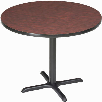 "Interion® 42"" Round Restaurant & Lunchroom Bar Height Table, Mahogany"