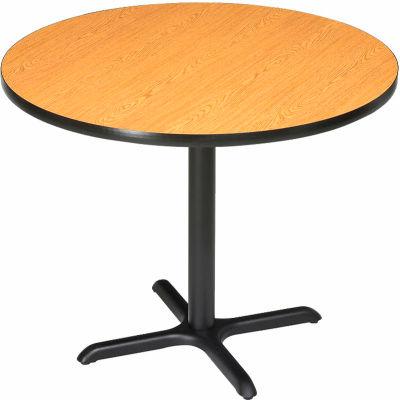 "Interion® 36"" Round Restaurant & Lunchroom Bar Height Table, Oak"