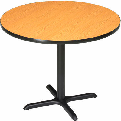 "Interion® 42"" Round Restaurant & Lunchroom Bar Height Table, Oak"