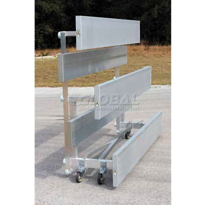 4 Row Universal Low Rise Tip N Roll Aluminum Bleacher, 7-1/2' Long, Single Footboard