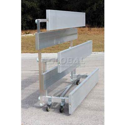 2 Row National Rep Tip N Roll Aluminum Bleacher, 15' Long, Single Footboard