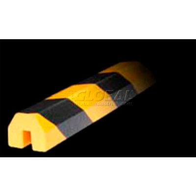 "Knuffi Shelf Bumper Guard, Type BB, 196-3/4""L x 1-1/2""W x 1-1/2""H, Black & Yellow, 60-6820"