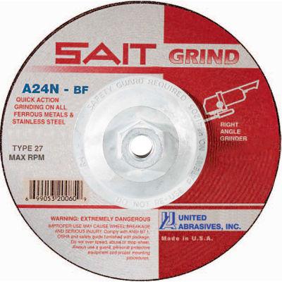 "United Abrasives - Sait 20160 Depressed Center Wheel T27 4-1/2""x 1/4"" x 5/8-11"" 24 Grit Alum. Oxide - Pkg Qty 10"