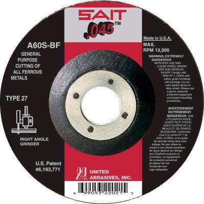 "United Abrasives - Sait 22021 Depressed Center Wheel T27 4-1/2""x .045"" x 7/8"" 60 Grit Alum. Oxide - Pkg Qty 50"