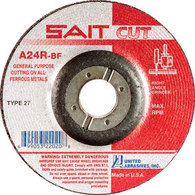 """United Abrasives - Sait 22045 Depressed Center Wheel T27 A24R 6""""x 1/8"""" x 7/8"""" 24 Grit Aluminum Oxide - Pkg Qty 25"""
