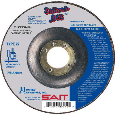 "United Abrasives - Sait 22088 Depressed Center Wheel T27 7""x .045"" x 7/8"" Ceramic Alum. Oxide - Pkg Qty 50"