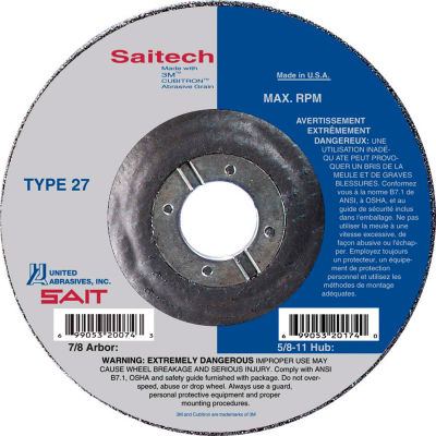 "United Abrasives - Sait 22264 Depressed Center Wheel T27 4-1/2""x 1/8"" x 7/8"" Ceramic Alum. Oxide - Pkg Qty 25"
