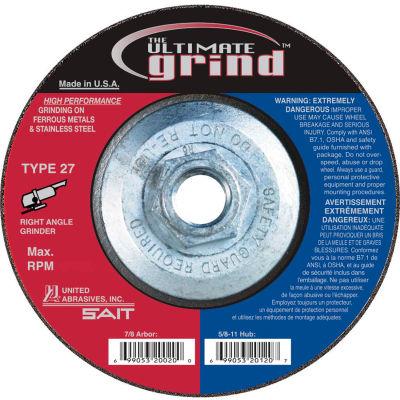 "United Abrasives - Sait 22514 Depressed Center Wheel T27 4-1/2""x 1/4"" x 5/8-11"" Proprietary Grain - Pkg Qty 10"