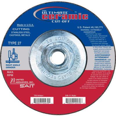 "United Abrasives - Sait 22571 Depressed Center Wheel T27  5""x .045"" x 5/8-11"" Ceramic Alum. - Pkg Qty 10"