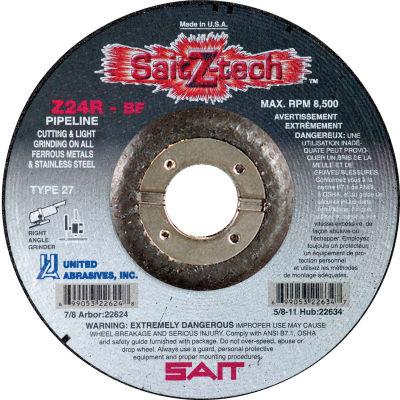 """United Abrasives - Sait 22623 Depressed Center Wheel T27 Z-TECH 6""""x 1/8"""" x 7/8"""" 24 Grit Zirconium - Pkg Qty 25"""