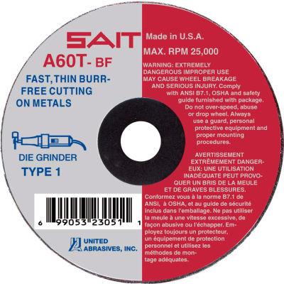 """United Abrasives - Sait 23041 Cut Off Wheel Type 1 A60T 3"""" x 1/16"""" x 3/8"""" 60 Grit Aluminum Oxide - Pkg Qty 50"""