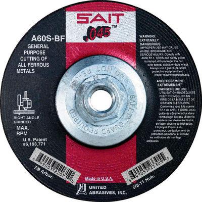 "United Abrasives - Sait 23305 Depressed Center Wheel T1 5-1/2""x .045"" x 5/8-11"" 60 Grit Alum. Oxide - Pkg Qty 10"