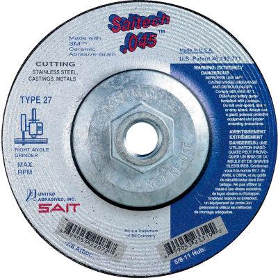 "United Abrasives - Sait 23319 Depressed Center Wheel T1 4-1/2""x .045"" x 5/8-11"" Ceramic Alum. Oxide - Pkg Qty 10"