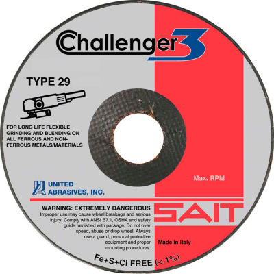 "United Abrasives - Sait 27615 Challenger III Grinding Wheel Type 29 5 "" x 1/8 "" x 7/8"" 36 Grit - Pkg Qty 10"