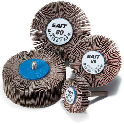 """United Abrasives - Sait 71021 2A Flap Wheel 1-1/2"""" x 1/2"""" x 1/4""""-20 80 Grit Aluminum Oxide - Pkg Qty 10"""