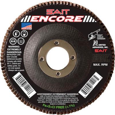 """United Abrasives - Sait 71208 Encore Flap Disc T27 Encore 4-1/2""""x 7/8"""" 60 Grit Zirconium - Pkg Qty 10"""