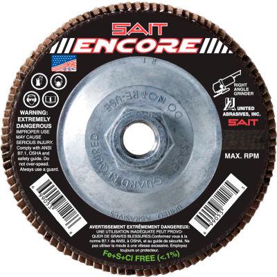 """United Abrasives - Sait 71221 Encore Flap Disc T27 Encore 4-1/2""""x 5/8-11"""" 120 Grit Zirconium - Pkg Qty 10"""