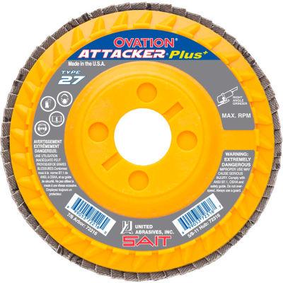 """United Abrasives - Sait 72223 Flap Disc T27 Ovation Attacker + 5-1/2""""x 7/8"""" 80 Grit Zirconium - Pkg Qty 10"""