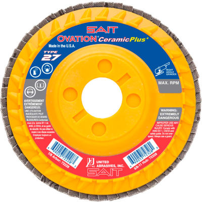 "United Abrasives - Sait 72227 Ovation Attacker Flap Disc T27 5""x 7/8"" 40 Grit Ceramic - Pkg Qty 10"