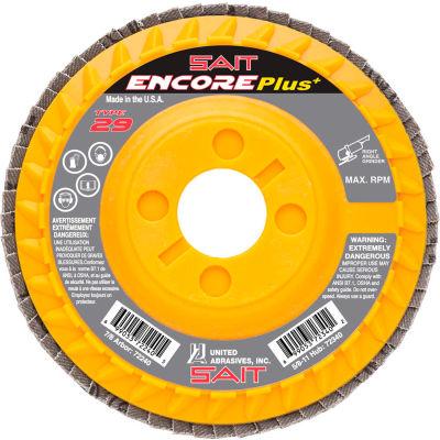 """United Abrasives - Sait 72238 Encore Flap Disc Type 29 4-1/2 """" x 7/8"""" 36 Grit Zirconium - Pkg Qty 10"""