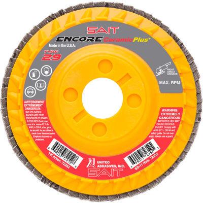 """United Abrasives - Sait 72251 Encore Flap Disc Type 29 4-1/2 """" x 7/8"""" 40 Grit Ceramic - Pkg Qty 10"""
